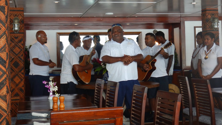 Fijian welcome on Blue Lagoons Cruises