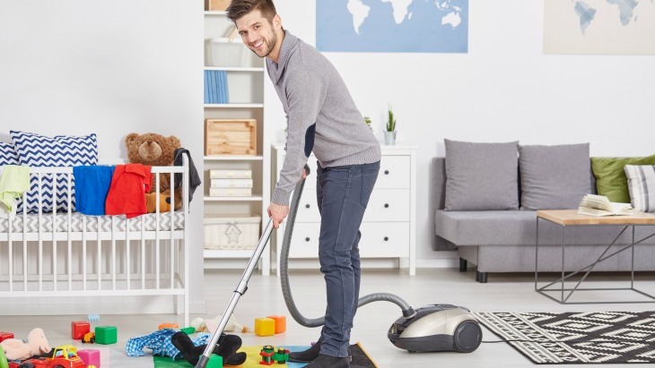 Stay at home dad cleaning
