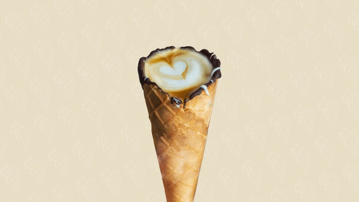 Coffee in a cone hero