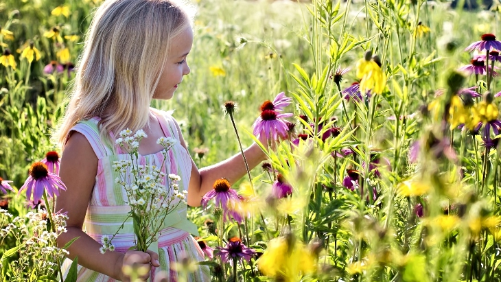 Canva girl wildflowers