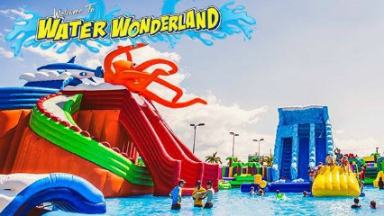 Water wonderland liverpool catholic club easter school holidays water parks giant inflatables sydney kidssouth west sydney