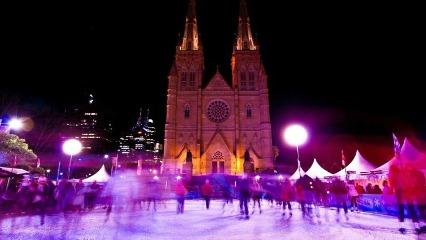 Winter garden st marys cathedral igloo frozen birthday party outdoor ice skating sydney cbd city of sydney eastern suburbs winter school holidays