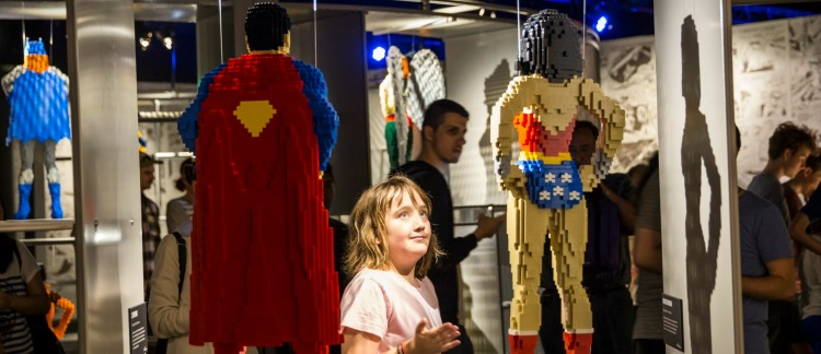 Art of the Brick, (AOTB, Lego) DC Comics launch, opening. People in exhibition.
