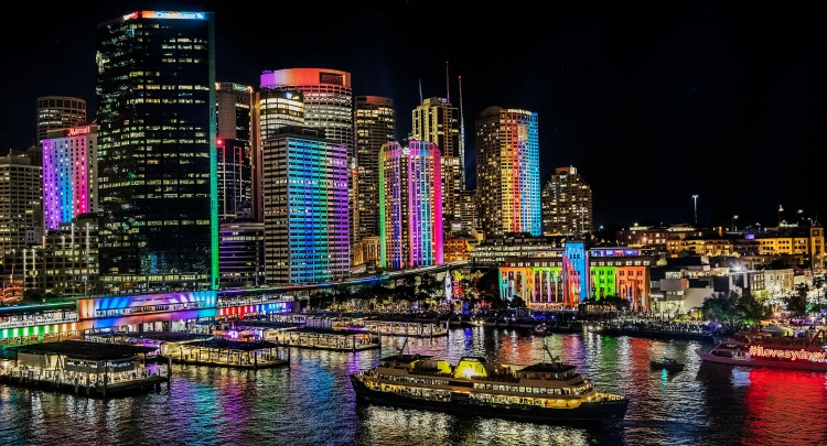 View of Circular Quay, Sydney harbour during VIVID 2016